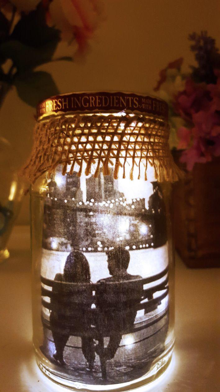 DIY Lit Mason Jar with a Picture, Mason Jar, DIY Mason Jar, Personalized Mason Jar, Night Light, Mason Jar Night Light, Night Lamp, Easy DIY Valentine Gifts for Him, DIY Valentine Gifts, Gifts, Valentine Gifts #masonjardiy