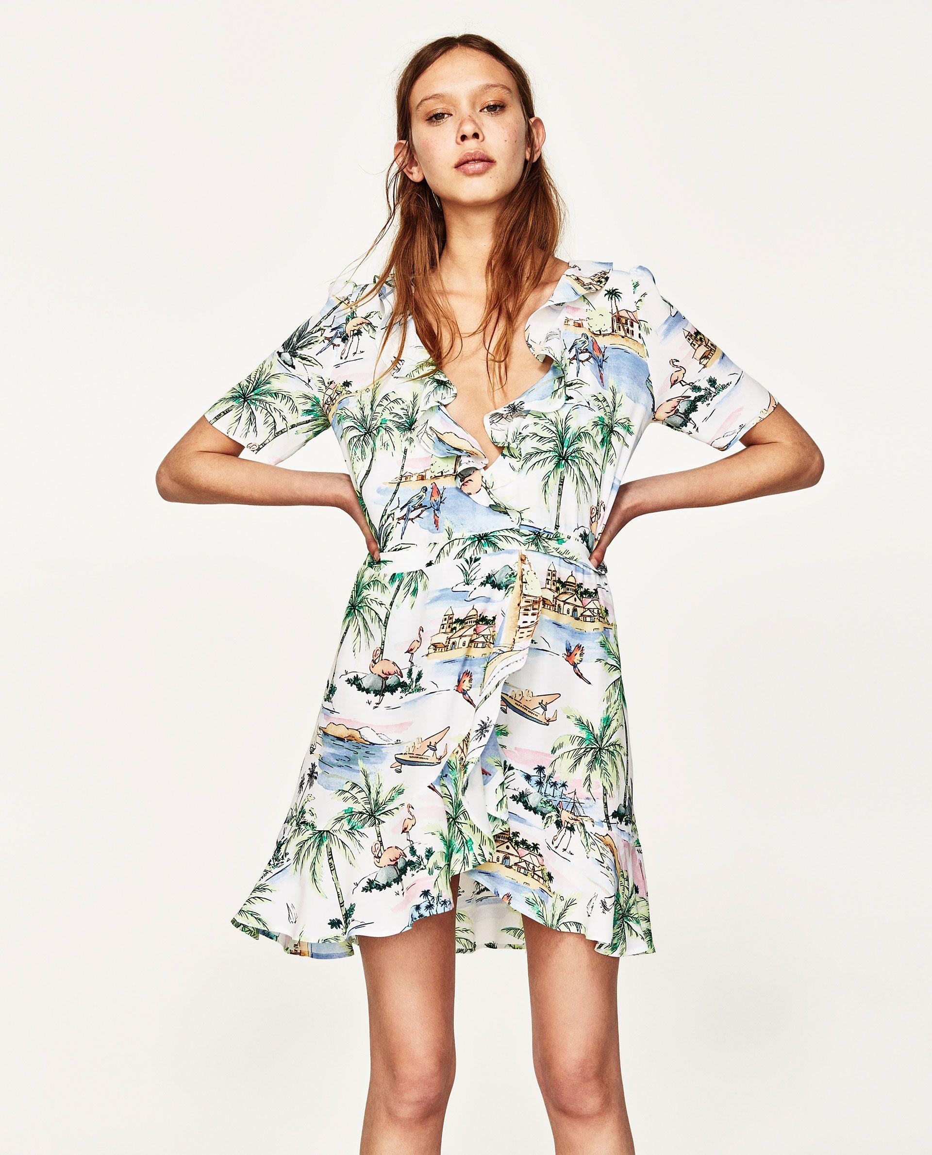 Image 2 Of Short Wrap Dress From Zara Wrap Dress Short Printed Wrap Dresses Ruffle Hem Dress