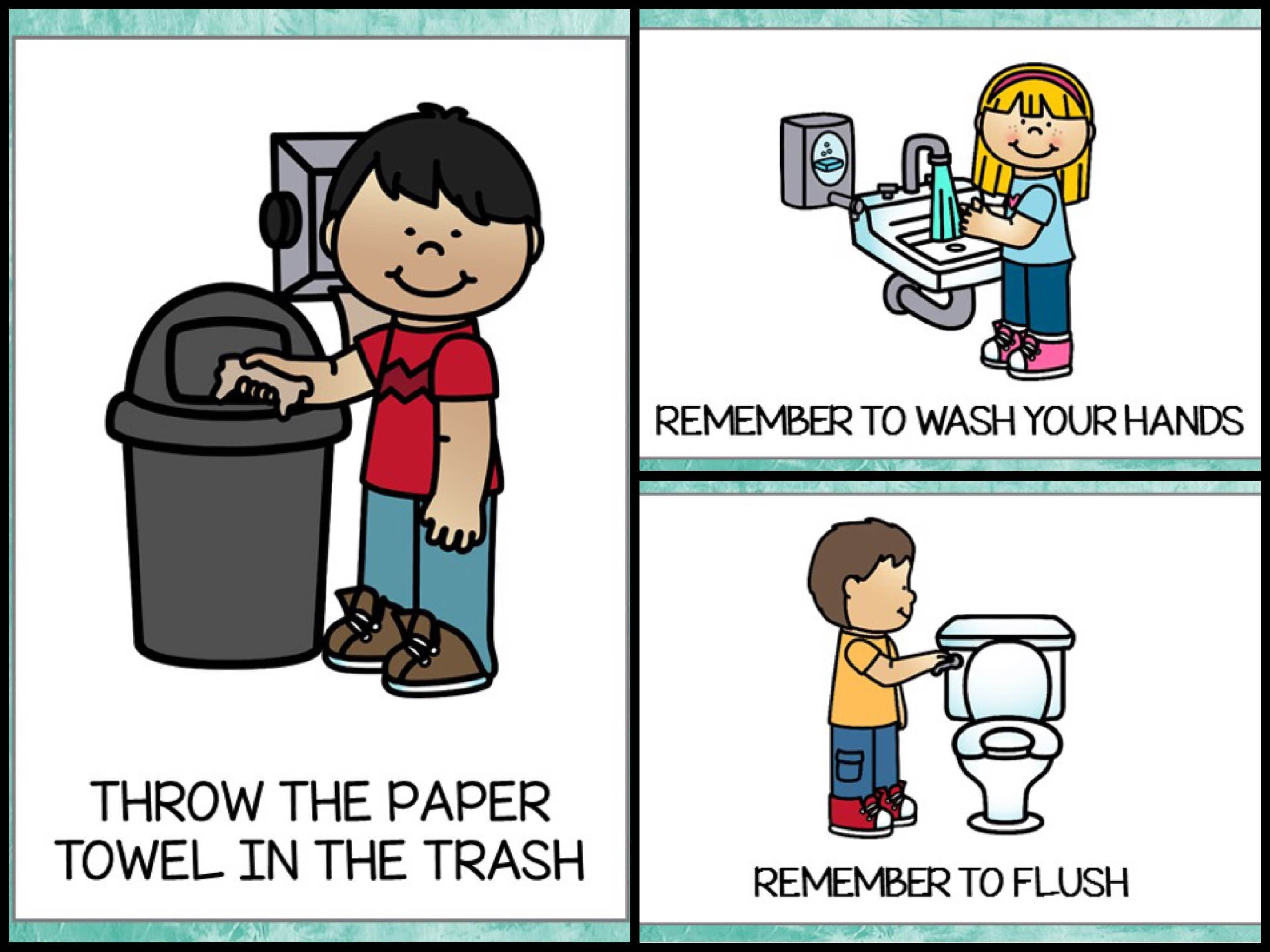 Teaching bathroom procedures is sometimes time consuming…you need to remind children to flush, not to forget to use soap, to throw the paper INTO the trash, not next to it. And as a kindergarten teacher you have to do this over and over again throughout the day. But I've created these bathroom posters with comprehensive …