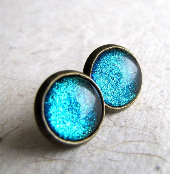 Glitz Glam Blue Diamontrigue Jewelry: Glitter Earrings, Blue Glitter, Blue Earrings