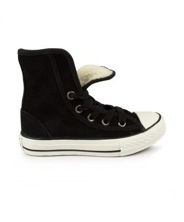58e857c4a7c1 Junior Converse Chuck Taylor Super Hi Black Suede Trainers available here  at Squared Clothing.
