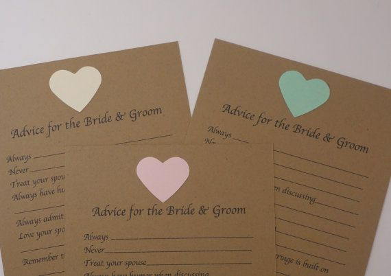Advice For The Bride And Groom Fill In Blank Wedding Shower Wish Card Bridal