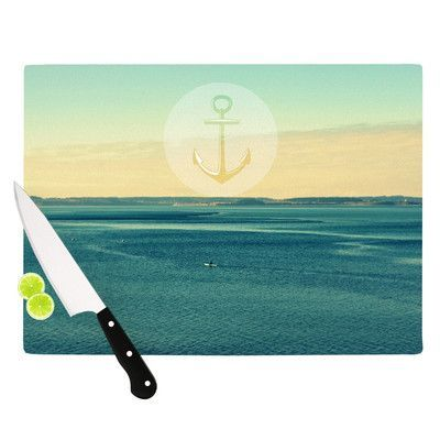 """KESS InHouse Row Your Own Boat by Robin Dickinson Ocean Cutting Board Size: 0.5"""" H x 15.75"""" W x 11.5"""" D"""