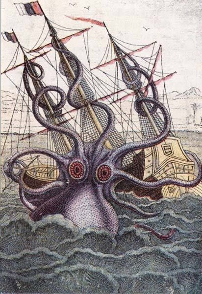 Vintage Art Print Poster Octopus Giant Ship Wall Hangings Tapesty