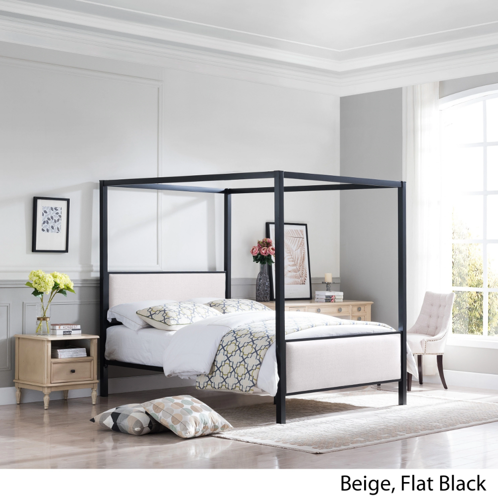 Best Duane Traditional Fabric Canopy Queen Bed By Christopher 640 x 480