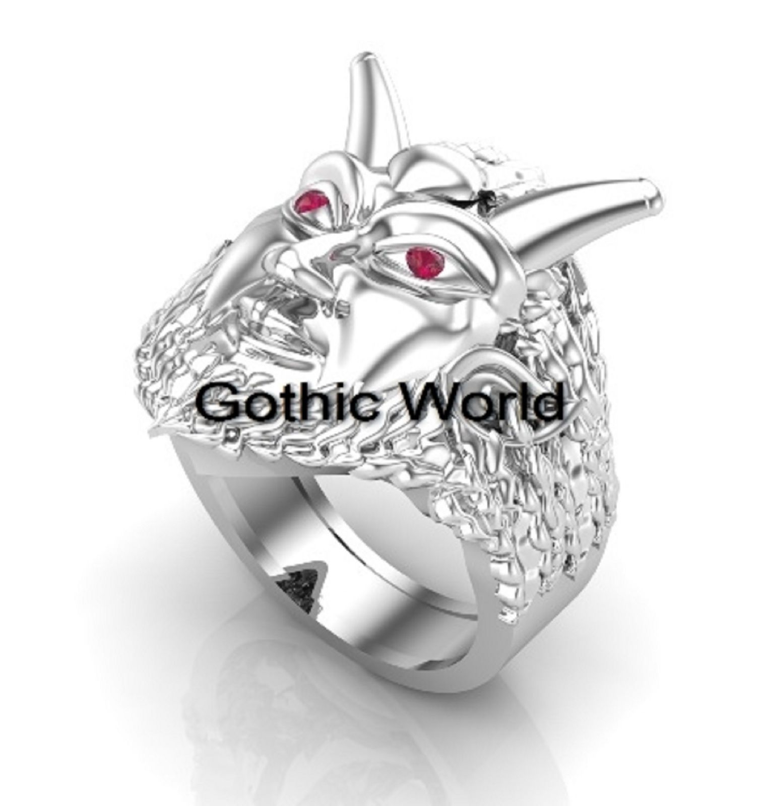 Morduk Gothic Engagement Wedding Ring Ruby Eye 925 Sterling Silver