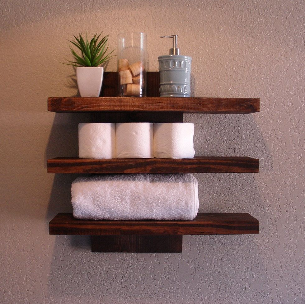 Modern rustic 3 tier bathroom shelf with 18 satin nickel Modern floating wall shelves