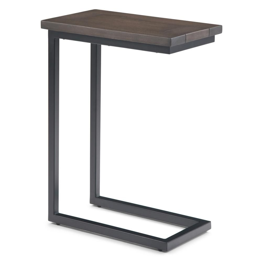 Simpli Home Skyler Walnut Brown C Side Table Wood Metal Solid Wood Table Furniture