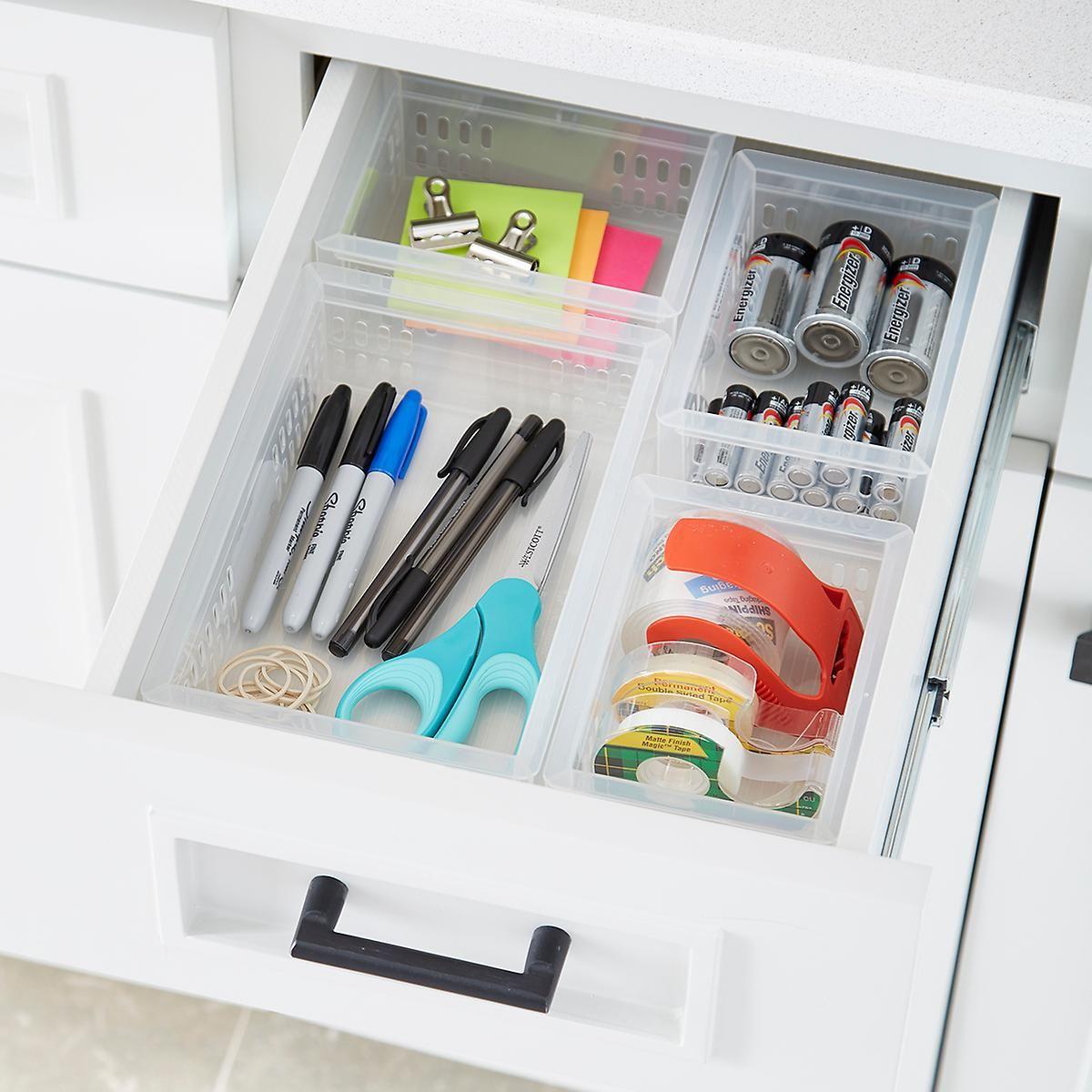 Stackable Organizers Junk Drawer Starter Kit Junk Drawer Organizing Office Drawer Organization Acrylic Drawer Organizer