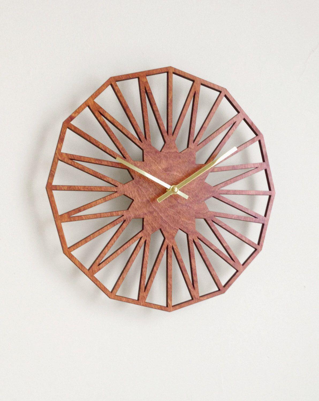 Star clock modern geometric mid century minimal laser cut wood