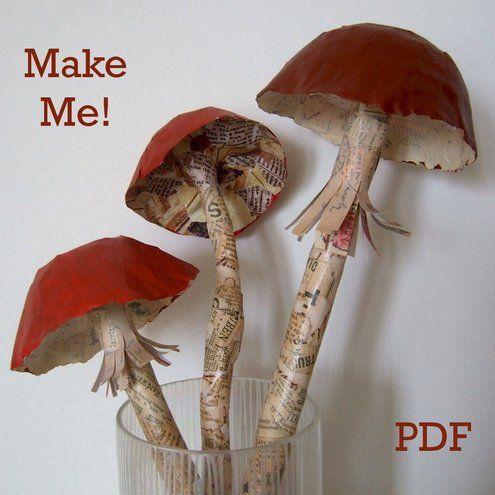 Photo of PDF TUTORIAL – Mushroom Paper Sculptures