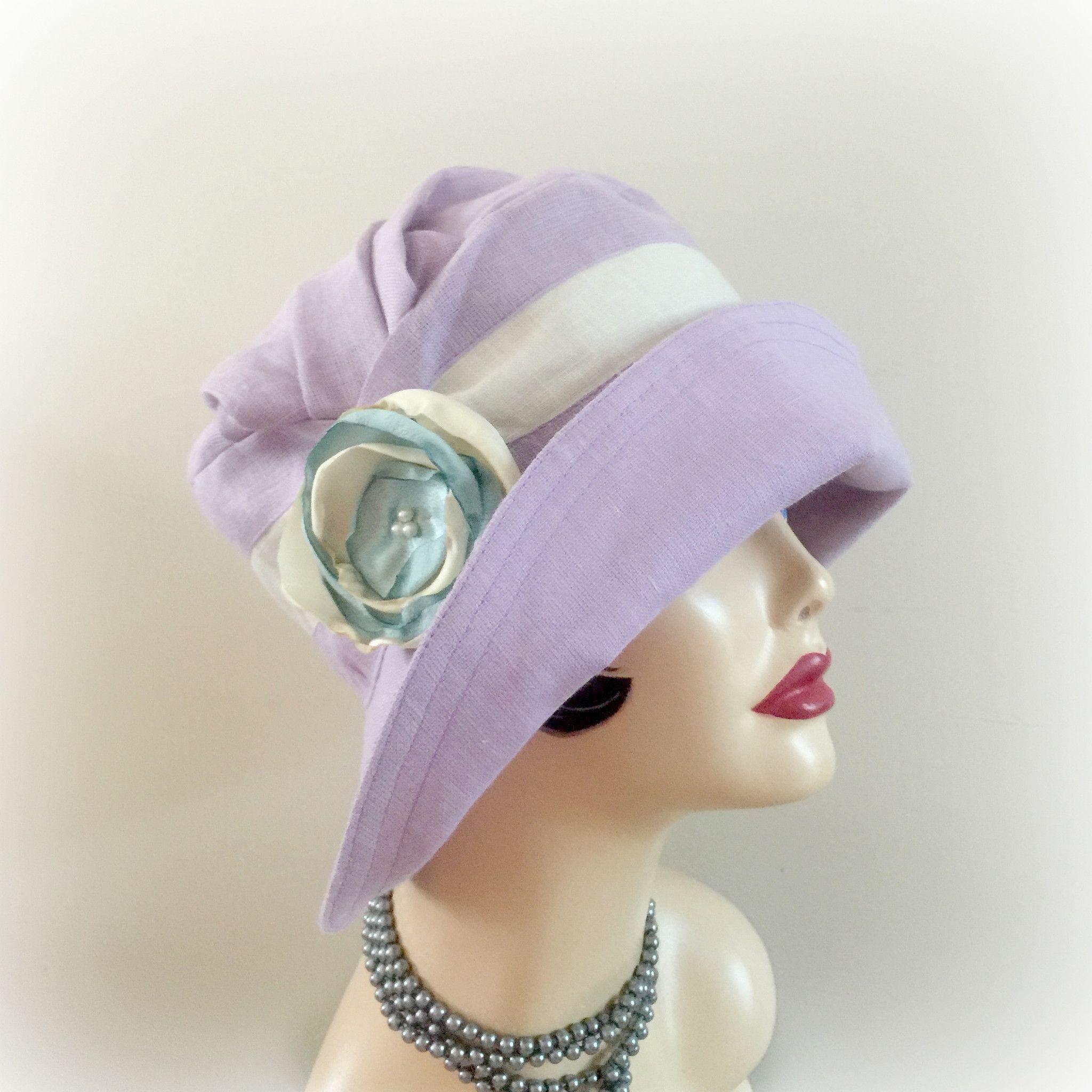 287cebf534ada6 For Erika Custom Design Lilac Linen Hat 1920's Flapper Style Hat Alice Cloche  Downton Abbey Cloche