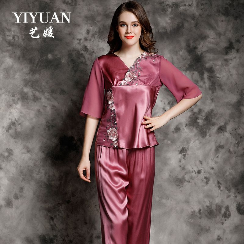 111ac6a66 YIYUAN Brand Summer NEW Real Silk Women Pajamas Embroidery Sexy Silk Pajama  Pants Sets 2-