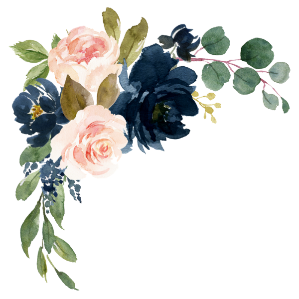 Navy Blue and Blush Pink Floral Country Wedding Square