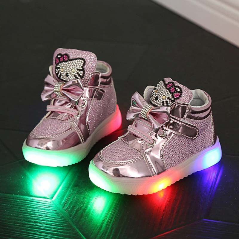 2016 children led footwear childrens lights shoes kids light up shoes boots  hello kitty shoes for