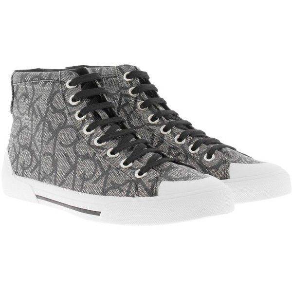 Calvin Klein Sneakers - Gitta High Top Logo Sneaker Granite - in... (£100) ❤ liked on Polyvore featuring shoes, sneakers, black hi top sneakers, white flat shoes, black white sneakers, flat shoes and grey sneakers