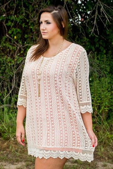 PLUS SIZE: Better Than Beautiful Dress - Fall Fashion 2014. Crochet lace dress would be perfect with boots in the fall!
