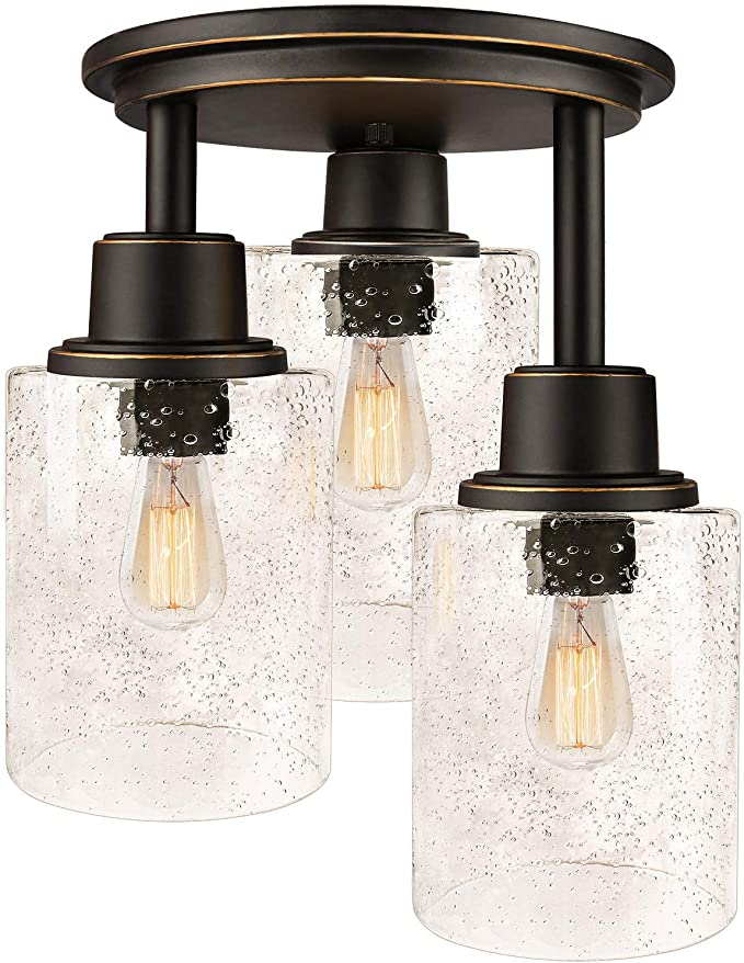 Amazon Com Semi Flush Mount Ceiling Light 3 Light Close To Ceiling Light Fixtu Flush Mount Ceiling Lights Ceiling Mount Light Fixtures Ceiling Light Fixtures