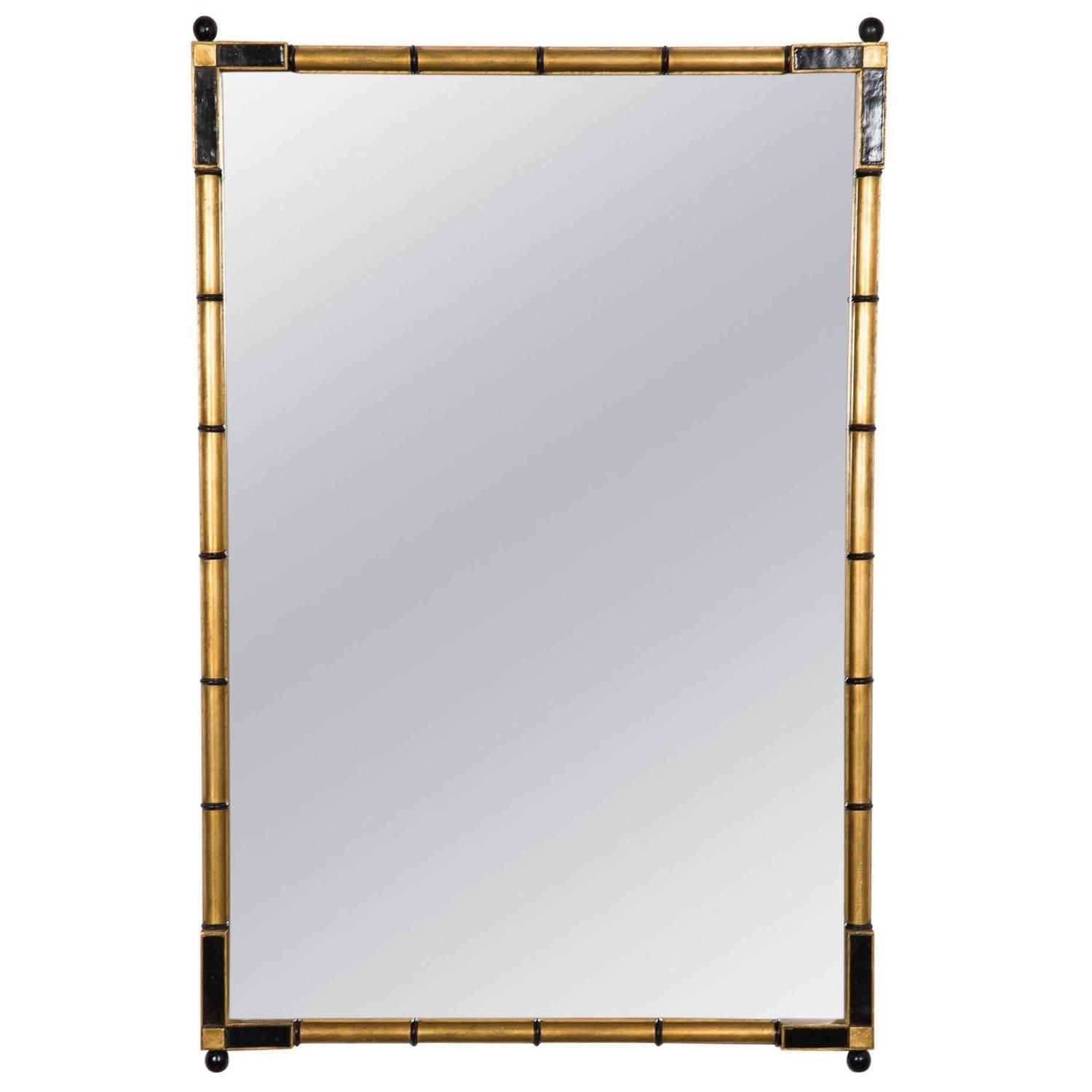 Giltwood Faux Bamboo Frame Wall Mirror, American 1960S