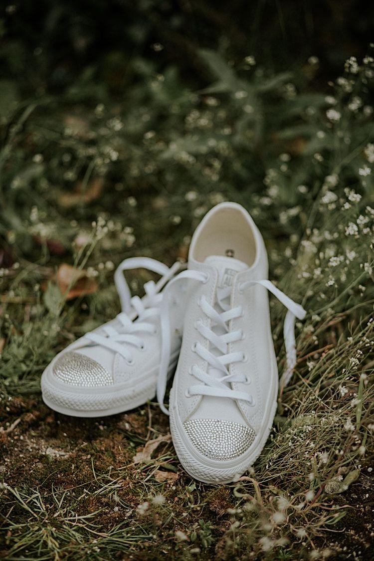 Sparkly Converse Shoes Bride Bridal Pretty Pale Blue Gold Fairy Lit Barn Wedding…