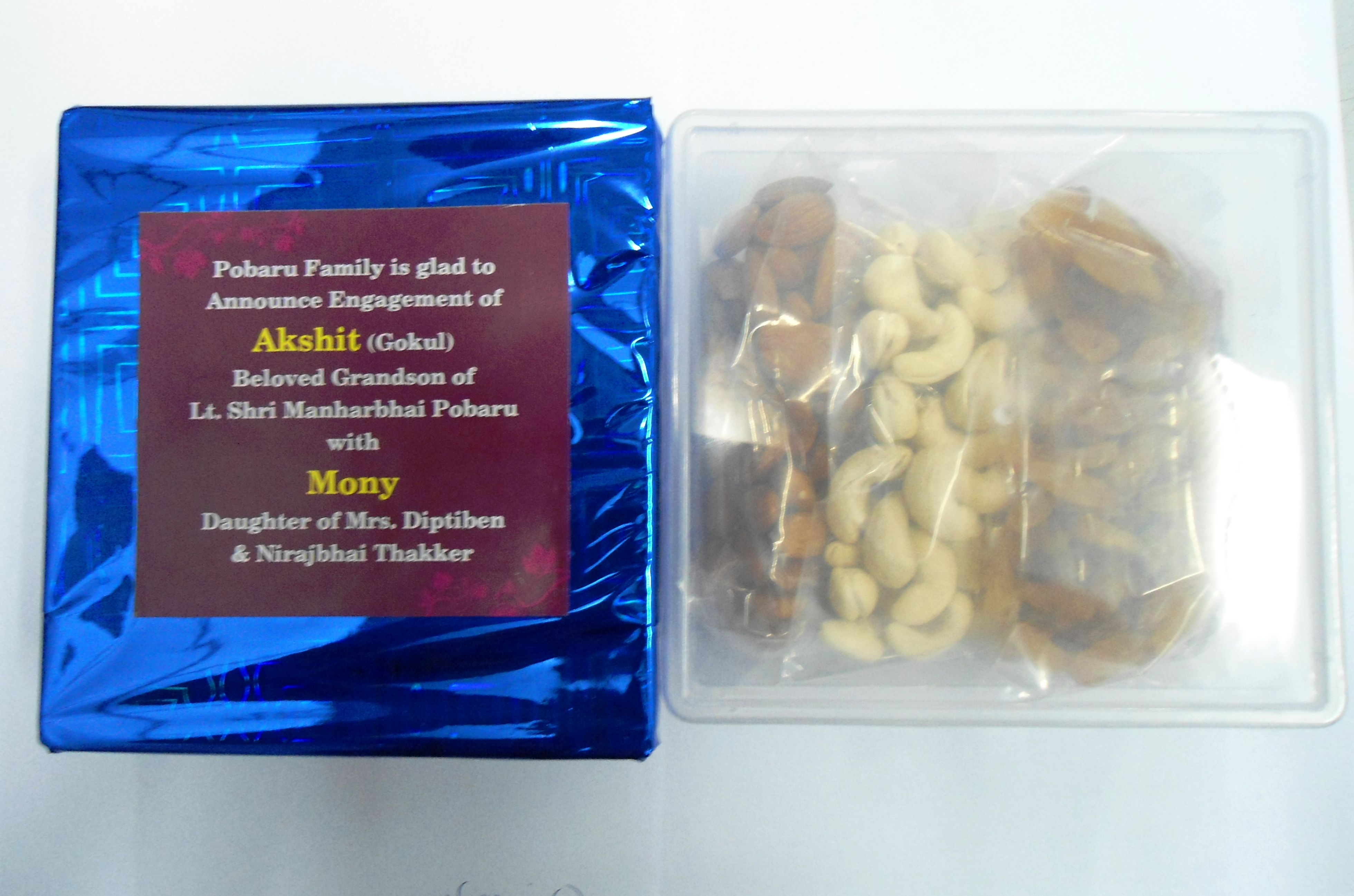 We supply customized dry fruits gift boxes for various requirement in bulk. Qty may vary as per budget. Minimum order qty 100 pc. For bulk inquiry contact 8758250600. or visit www.miltoponline.com