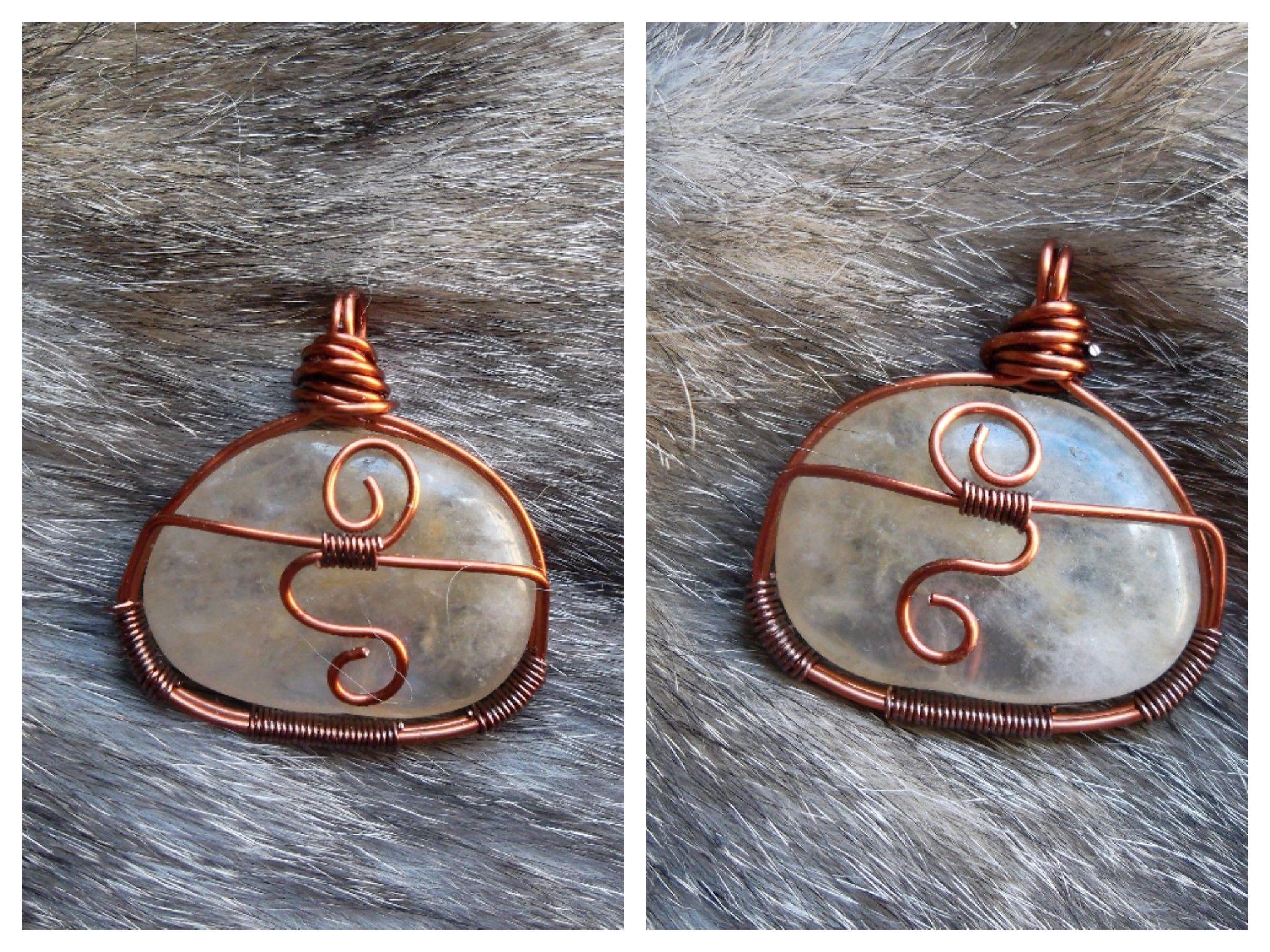 Polished \'Crystal Quartz\' Wire Wrap Cabochon, Front & Back, Copper ...