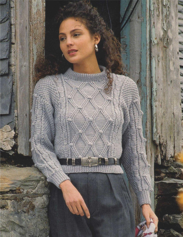 104c69651a0a Womens Aran Sweater PDF Knitting Pattern   Womens 28