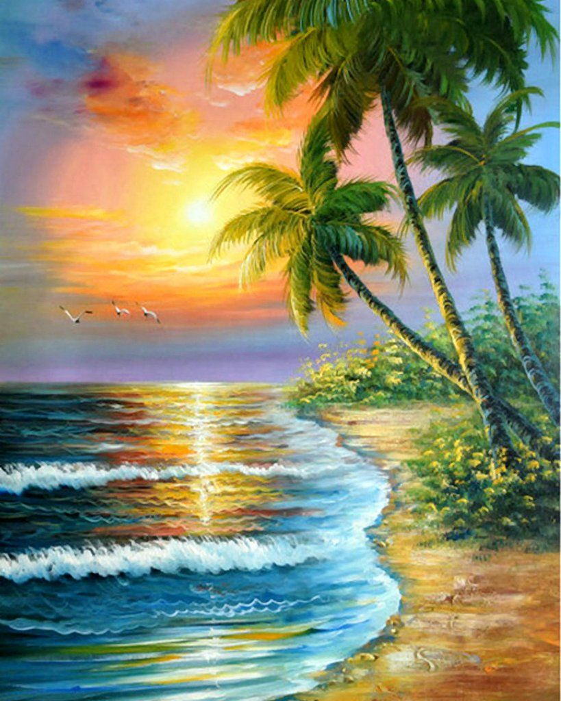DIY Painting By Numbers Coconut tree by the sea in 2020