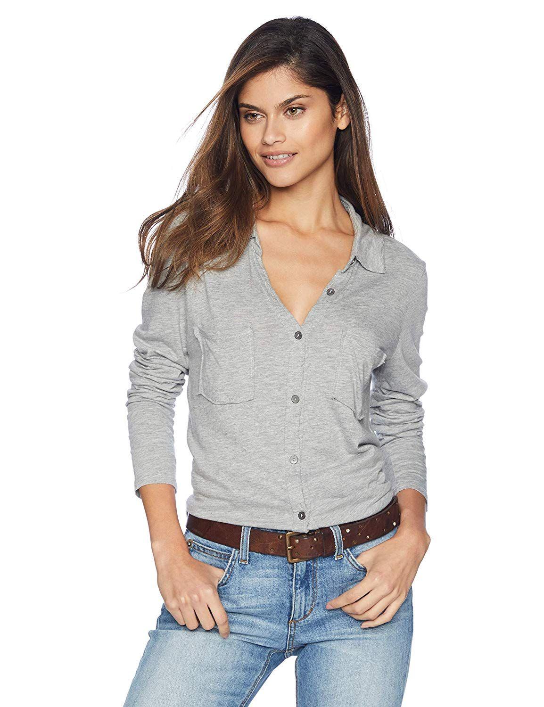 89bb7e8f0d Amazon.com  Michael Stars Women s Ultra Jersey Long Sleeve Button Down top