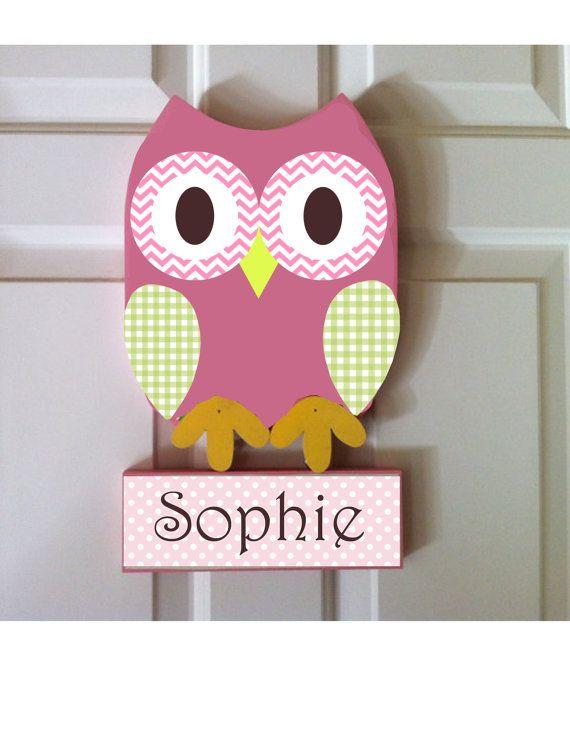 Owl room decor, owl nursery decor, owl door hanger, personalized ...