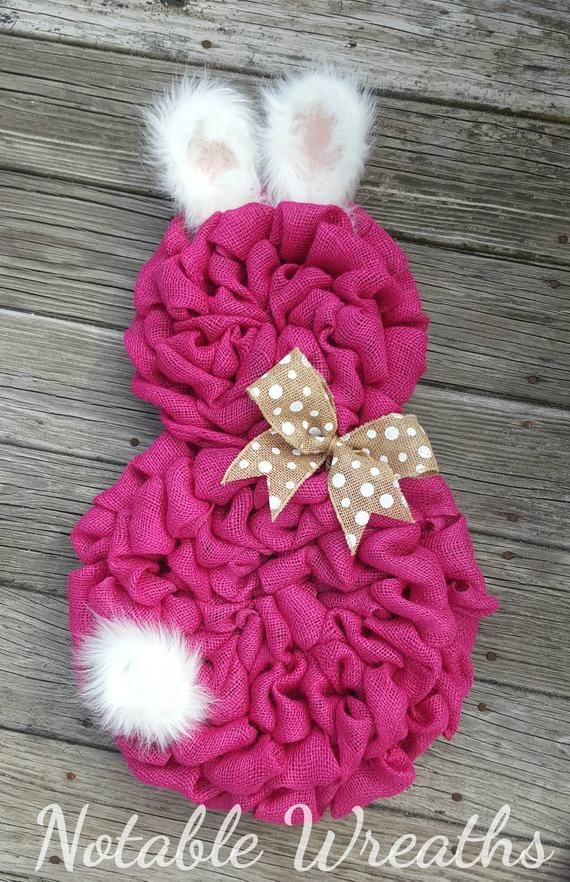 Photo of Easter burlap wreath, Spring wreath, bunny wreath, Easter bunny wreath, Front door wreath, pink burlap wreath, rustic Easter wreath