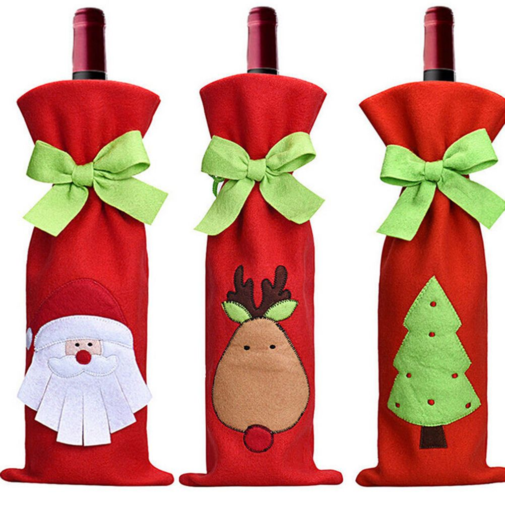 Christmas Decorations Wine Bottle Bags Gift Free Shipping Christmas Wine Bottles Christmas Wine Bottle Covers Christmas Dinner Party Decorations