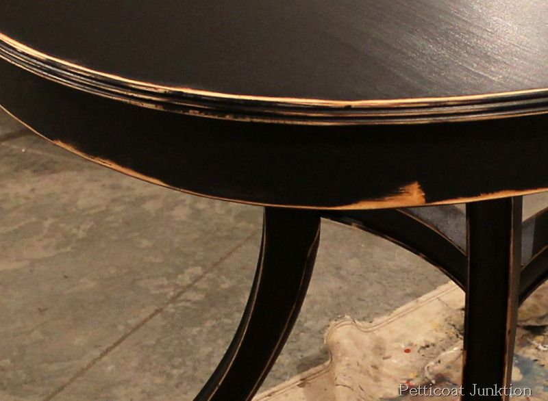 Black Painted Table With Moderate Distressing, Petticoat Junktion