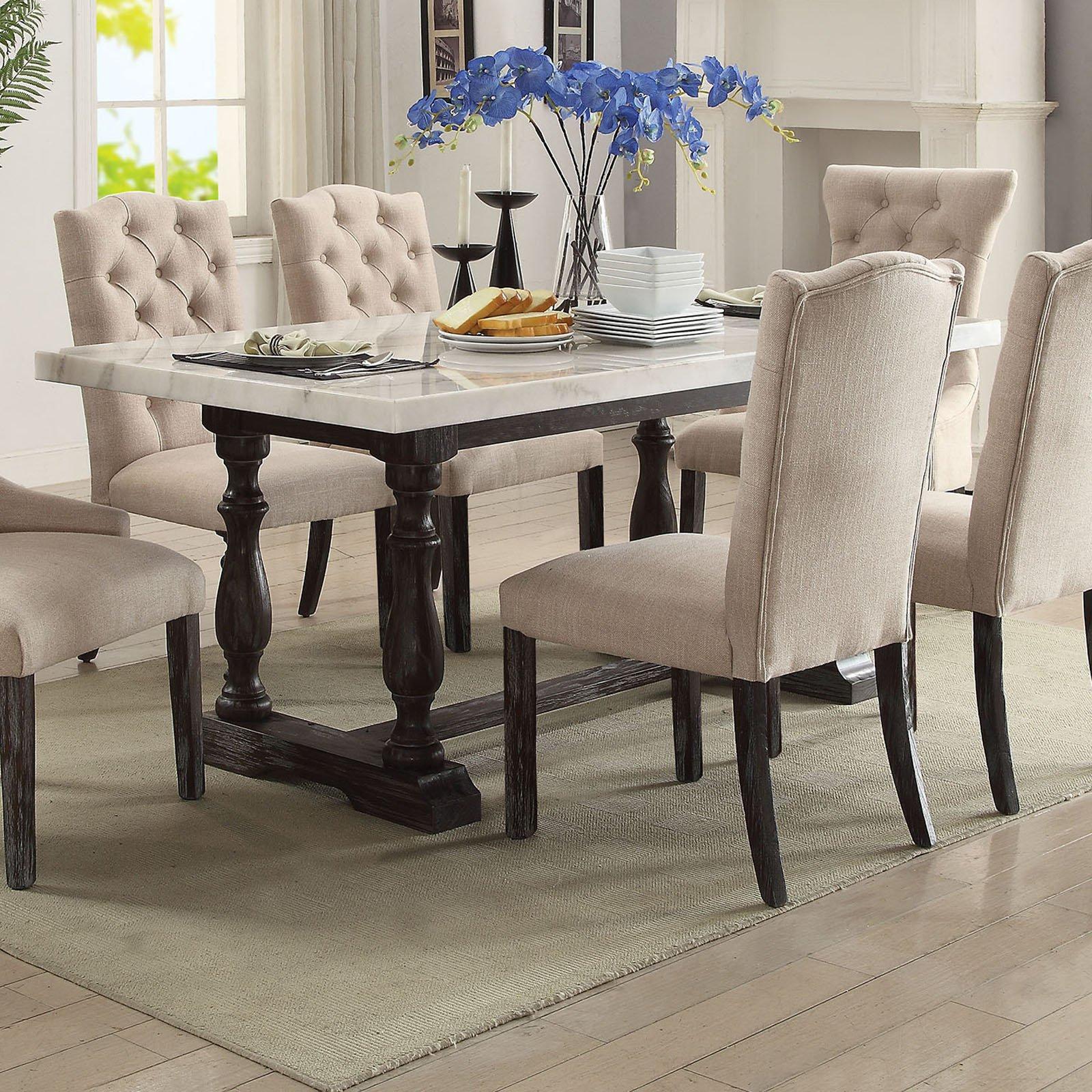 Acme Furniture Gerardo 72 In Rectangular Marble Dining Table In
