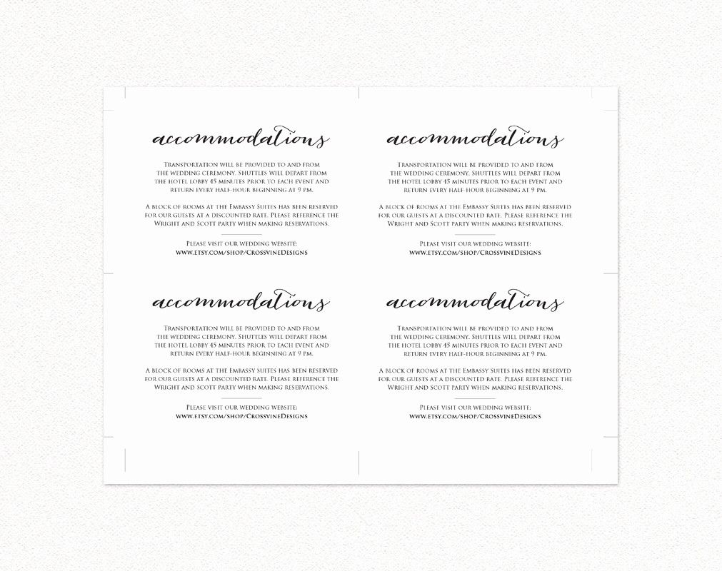 Free Wedding Accommodation Card Template Luxury Wedding Ac Modations Card Insert Diy Wedding Templ Wedding Accommodations Accommodations Card Wedding Templates