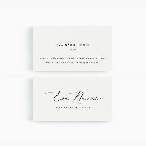 Eva Business Card Template For Google Drive Fine Art Photographer Designer Stylist Wedding Business Cards Minimalist Instant Download Business Card Inspiration Business Card Photographer Beautiful Business Card