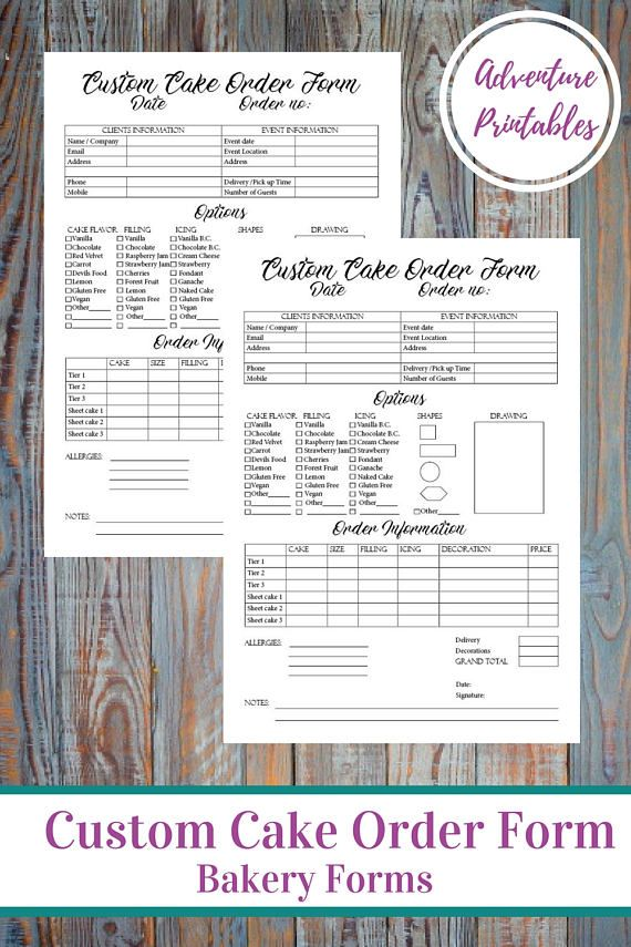 Custom Cake Order Form, Bakery Forms, Cake Order Form, Baking - cake order forms