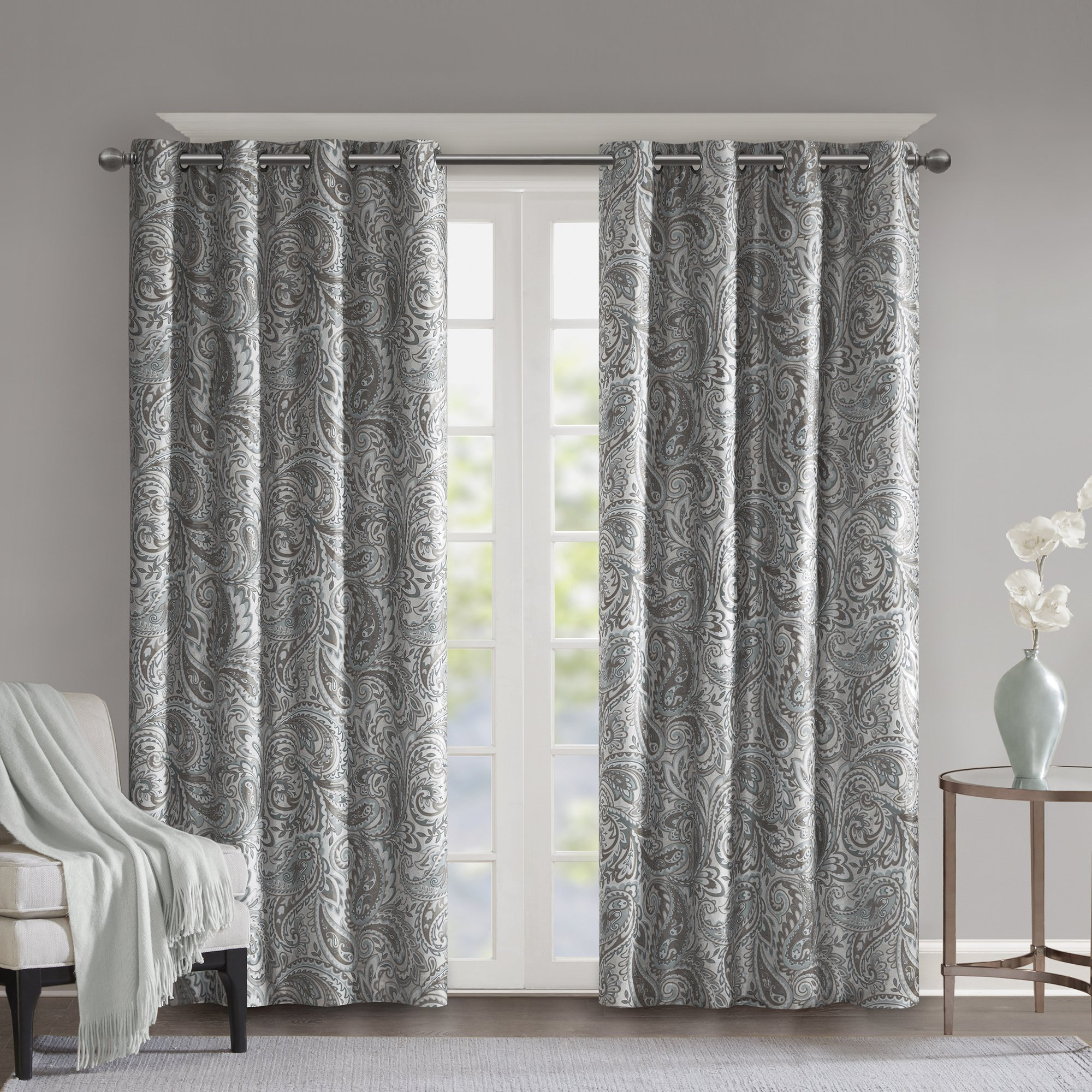 Sunsmart Dahlia Paisley Printed Total Blackout Single Window Curtain Panel 95 L In Ivory As Is Item 50 W X 95 L