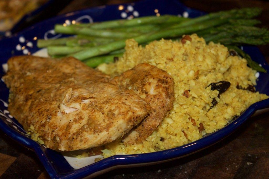 Tandoori Chicken with Curried Pineapple Cauliflower Rice {Whole30}