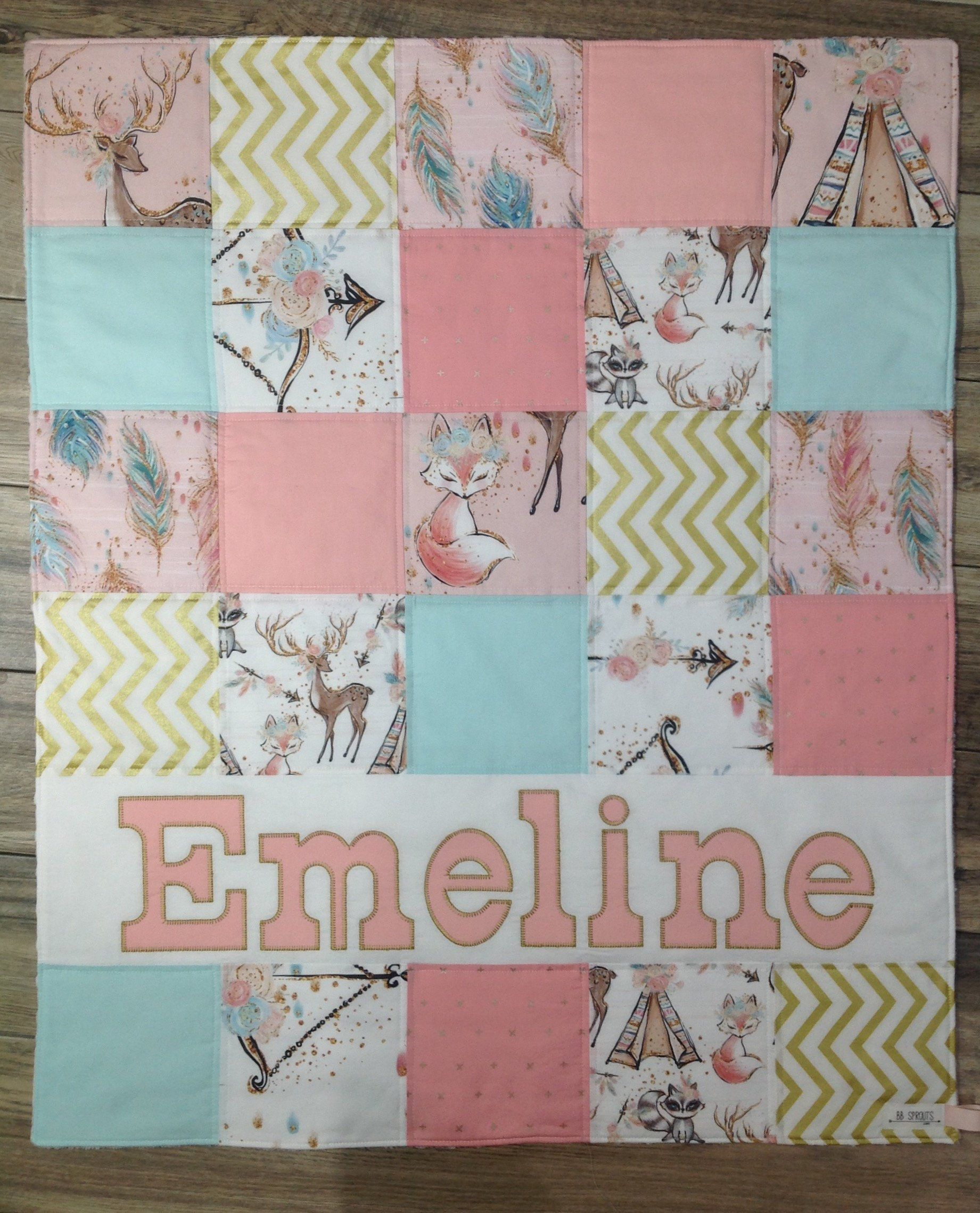 Baby Shower Gift Personalized Baby Quilt Baby Girl Handmade Baby Quilt Baby Gift Personalized Blanket Personalized Baby Quilt Handmade Baby Quilts Baby Quilts