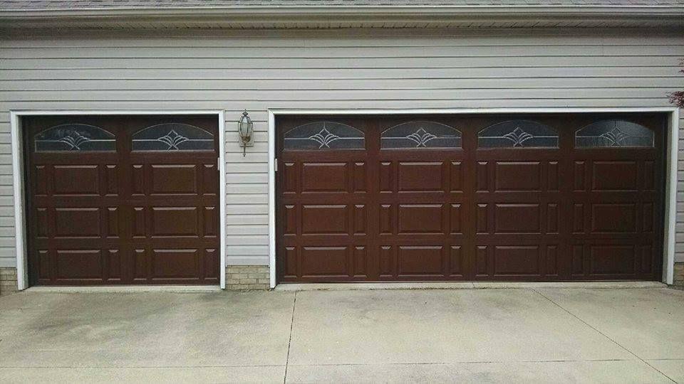 16 X 7 8 X 7 C H I Overhead Doors Model 2701 Fiberglass Faced Combination Panel Walnut Long Arched Somerset Windows Pla Overhead Door Doors Overhead