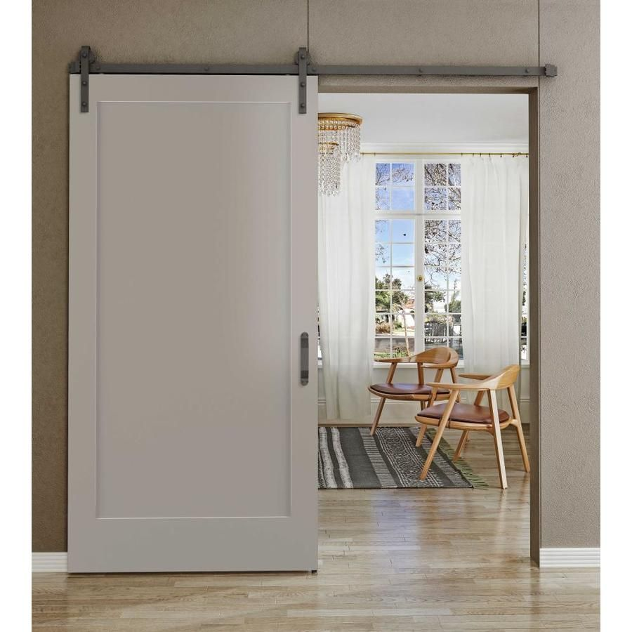 Frameport Grey Prefinished 1 Panel Wood Pine Barn Door Hardware Included Common 36 In X 84 In Actual 36 In X 84 In In 2020 Barn Door Hardware Barn Door Designs Dream Bathrooms