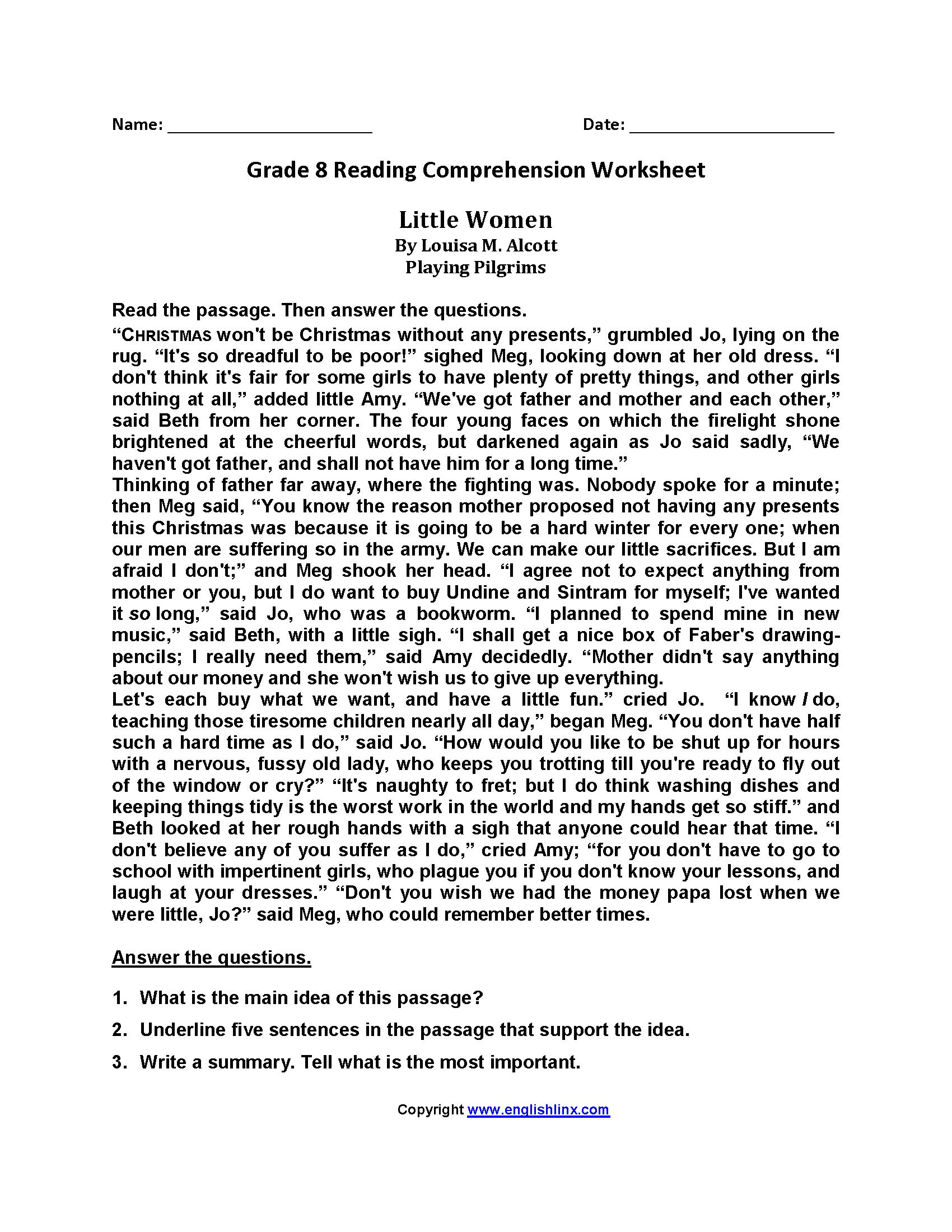 Little Women Eighth Grade Reading Worksheets   Reading comprehension  worksheets [ 2200 x 1700 Pixel ]
