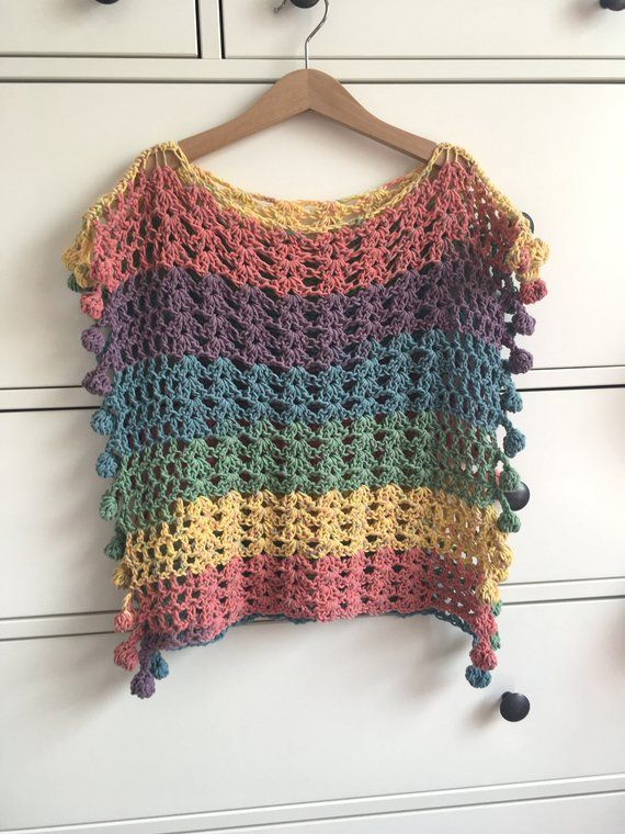 Adult Size UK Melu Crochet Summer Bobble Poncho | Crochet project