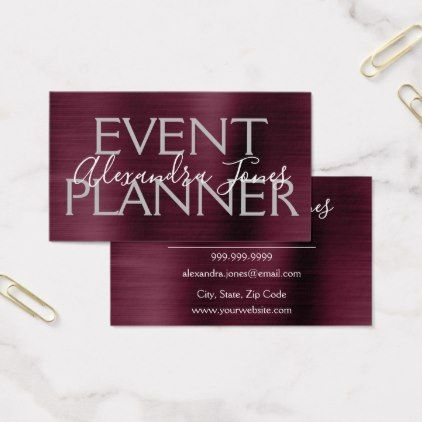 Burgundy Purple Brushed Metal Event Planner Business Card trendy