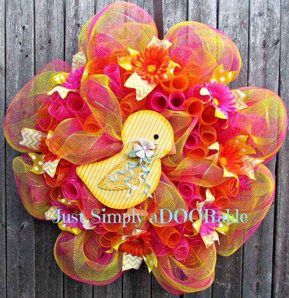 Spring Chick Wreath by JustSimplyaDoorable on Etsy, $60.00
