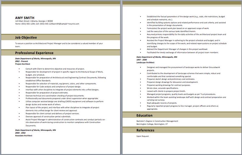 Project Architect Resume Sample Resume Template Architect Resume Sample Architect Resume Sample Resume Templates