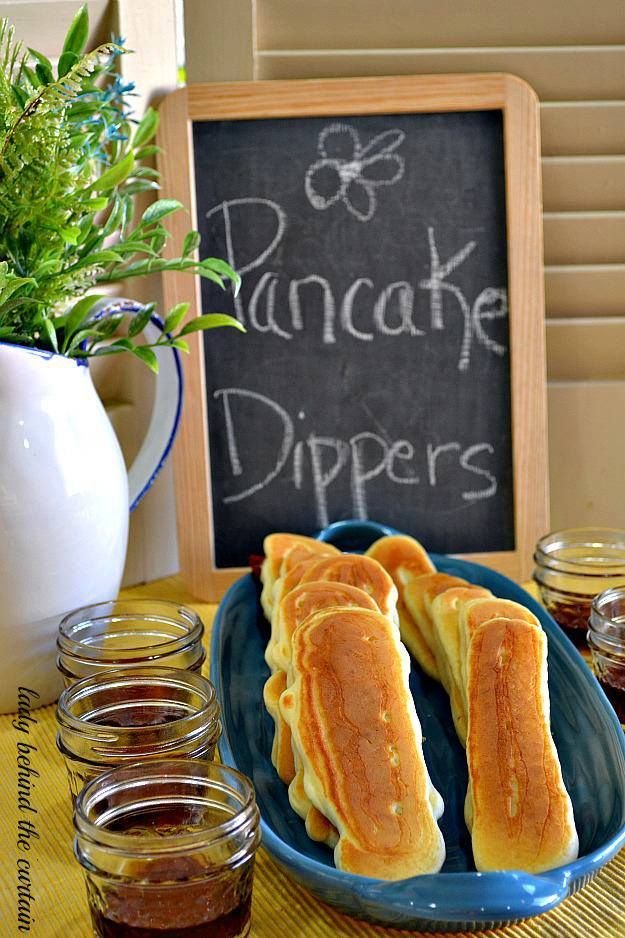 A DIY For Brunch - Pancake Dippers - Now your guests can have a pancake and bacon all in one easy to eat dipper!