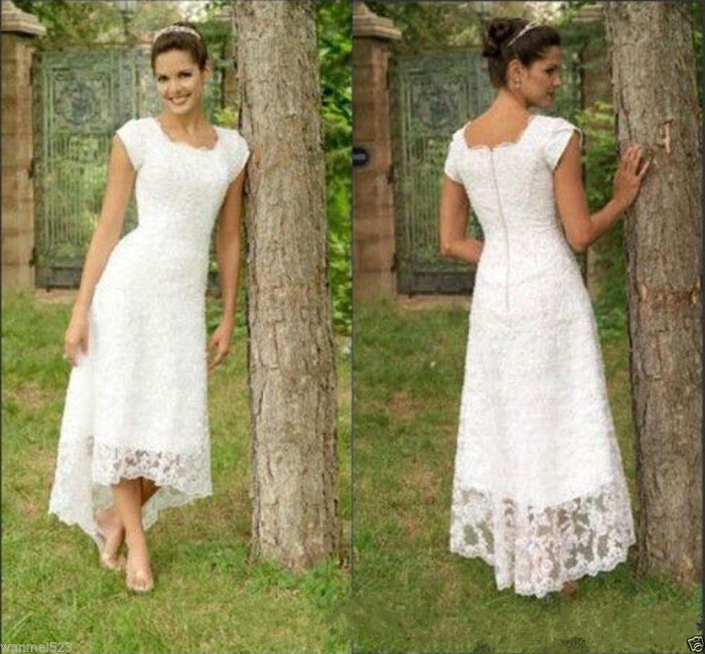 Cap Sleeve Tea Length Bridal Gown White Ivory Short Wedding Dress ...