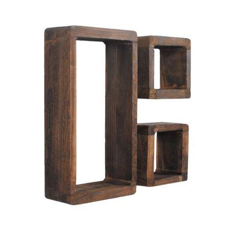 3er Set Lounge Cube Wand Regal Retro Shabby Antik Look Haengeregal